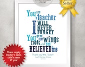 8x10 Personalized Teacher Appreciation Gift Idea / Teacher Print / End of Year Teacher Gift / Thank You Card / Roots Wings Believe