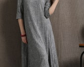 Gray Linen Dress - Simple Casual Comfortable Grey Loose-Fitting Flare Dress with 3/4 Sleeves and V-Neck Midi Length C413