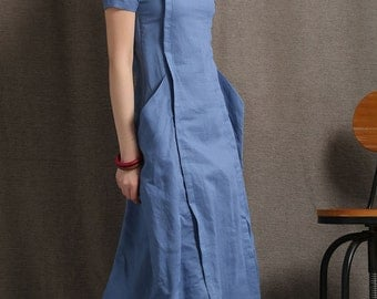 Blue Linen Dress - Modern Comfortable Everyday Casual Fitted Mid-Length Linen Dress with Large Pockets  C415