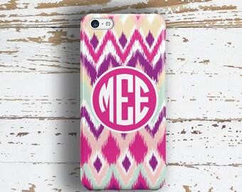 Gifts for teenaged grls, Monogram iPhone 6 case, Ikat iPhone 4s case, Cute iPhone 5 case for girls, Pink iphone 5c case, Purple aqua (9986)