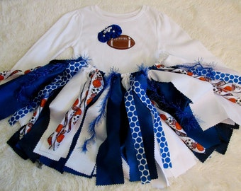 3T Shabby Chic Scrappy Sports Tutu & Long Sleeve Tee, Football Raggedy Tutu and Shirt, Girls Blue and White Fabric Tutu Set, Ready to Ship