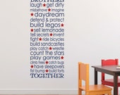 Brothers together Vinyl Wall Decal Playroom rules art Boy Nursery Toddler Room