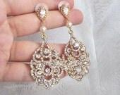Bridal Earrings Gold Chandelier Earrings Wedding Earrings Gold Bridal Jewelry Vintage Style chandelier bridal earrings crystal pearl earings