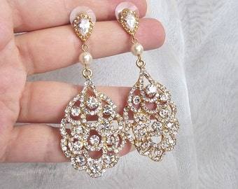 Bridal Earrings Gold Chandelier Earrings Wedding Earrings Gold Bridal Jewelry Vintage Style chandelier bridal earrings crystal pearl earings