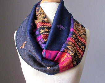 Black infinity scarf, pashmina infinity scarf, fall scarf,  chunky scarf, handmade scarf by Scarf Obsession