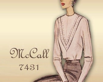 McCall 7431 1940s Blouse Pattern Dolman Sleeves in Three Lengths and Deep V Tucks on Front with Back Button Closure Bust 32 Factory Folded
