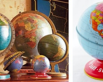"Ohio Art, World, Globe, 1945, World Bank, Bank, Tin Globe, 4"", World Globe, Vintage, Made in USA, Child's, Litho, Map, Blue, Yellow"