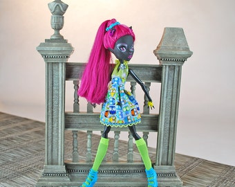 Handmade doll fashions for Monster dolls bright and colorful short nature inspired doll dress with knee-highs