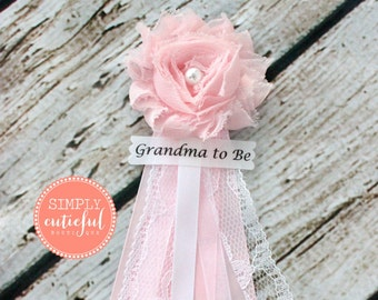 Pink Lace Baby Shower Mommy Pin or Bridal Shower Corsage with Mommy to Be Grandma to Be Bride to Be Pins Badge