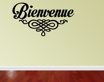 Bienvenue Welcome Vinyl Wall Quote Decal French Family (J687)
