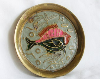 Life Aquatic. Enameled fish on vintage brass ring dish. Pastel color enamel. Old enamelware, cloisonne. Marine, nautical decor, display, art