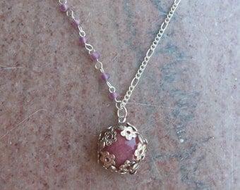 Rose Quartz Flower Filigree Necklace