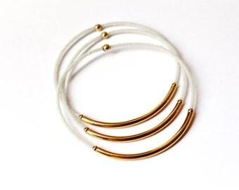White Seed Bead Bracelet, White Jewelry, White Bracelet, Tube Bangle, Bangle Bracelet, Beach Jewelry, Beaded Bangle, Gold Bangle