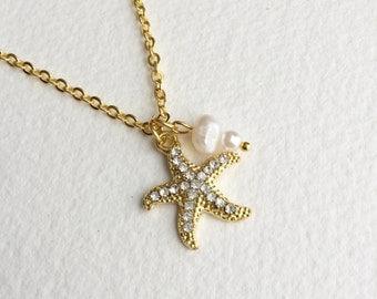 Starfish Necklace,GOLD, pearl, Beach Wedding necklace, beach wedding jewelry, bridesmaid gift Bridal necklace rhinestone jewelry GOLD PEARL