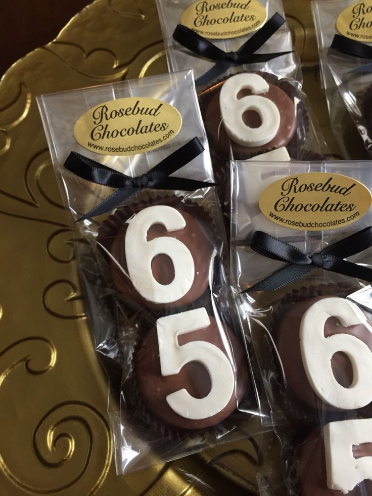 8 chocolate 65th double oreo cookie favors number sixty five for 65th birthday party decoration ideas