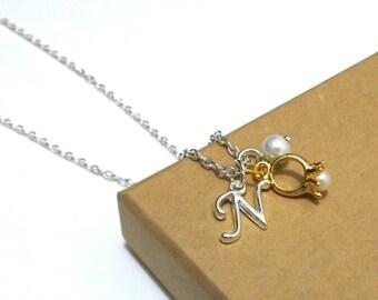 Ring Bearer Gift, Page Girl Gift, Ring Bearer Necklace, Ring Charm Jewellery, Ring Bearer Jewellery, Flower Girl Gift, Personalised Initial