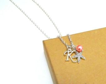 Starfish Necklace or Starfish Bracelet, Starfish Jewellery, Starfish Charm Necklace, Personalised Starfish Initial Bracelet, Sea Jewellery
