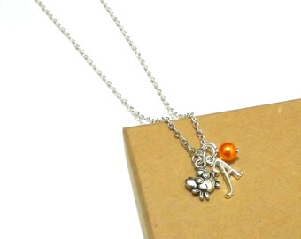 Crab Necklace or Crab Bracelet, Crab Jewellery, Crab Charm Necklace, Personalised Crab Initial Bracelet, Sea Jewellery, Ocean Jewellery