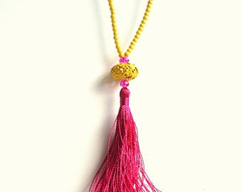 Tassel necklace, Fuchsia necklace, sunny yellow necklace, Rosary necklace, boho necklace, pale yellow, beach necklace, summer necklace