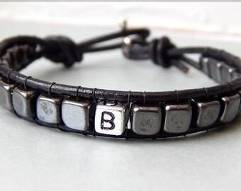 Men's Bracelet Leather Initial Bracelet, Tibetan Silver, Hematite, Men's Jewellery, Personalized Bracelet, Unisex, Gift Ideas