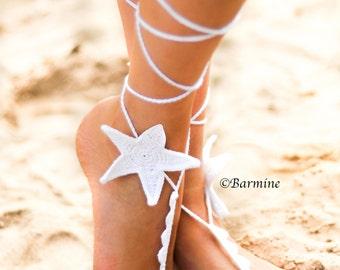 White Starfish Crochet Barefoot Sandals-Bridal accessory-Bridal jewelry-Beach wedding starfish jewelry-Sandals-Beach Pool party accessory