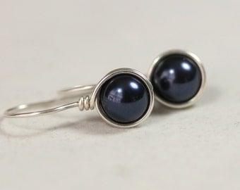Navy Blue Pearl Earrings Wire Wrapped Jewelry Handmade Sterling Silver Jewelry Handmade Wire Wrapped Earrings Blue Earrings