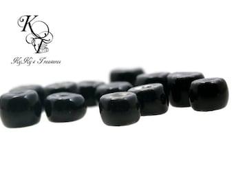 Glazed Beads, 14 Pieces Glazed Porcelain Beads, Black Beads, Porcelain Beads, Porcelain Rondelle Beads, Jewelry Supplies, Black Ceramic Bead