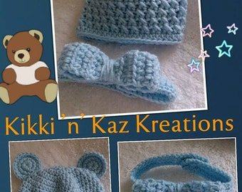 Crocheted Baby Bear Hat and Bowtie Set