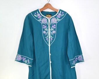 Tunic Shirt Embroidered Tunic Shirt Turquoise Top Boho Hippie Top 80s Bob Mackie Tunic Shirt