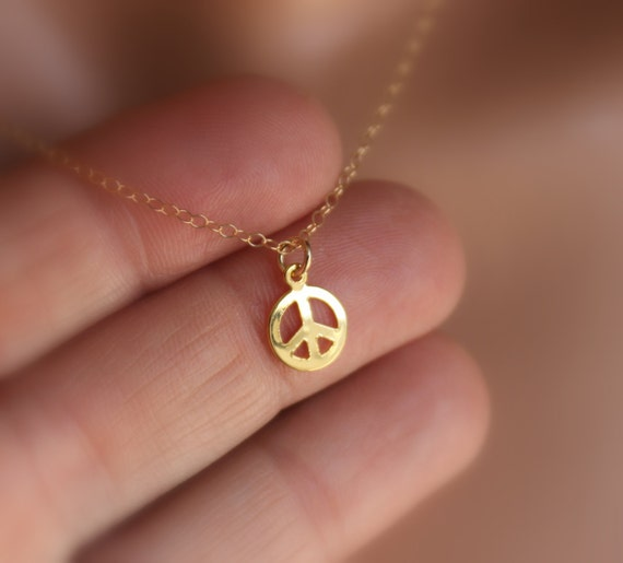 Peace Sign Necklace Gold Filled Women Girls Simple Delicate