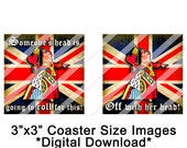 Coaster Images, Digital Download, Queen of Hearts, English Flag Images, Storybook Images, 3x3 Inch, Three Inch Squares, Coaster Size Images
