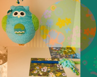 owl pinata in blue & green
