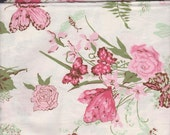 Vintage Rose Butterfly Fabric ~ Retired Fabric FQ Pastel Pinks Fushia
