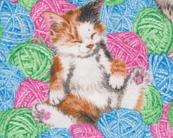 Cats in the Knitting Wool ~ Retired Cat Fabric FQ