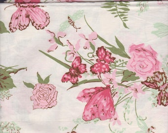 SPECIAL order for GAYLE ~ Vintage Rose Daffodil Butterfly Fabric ~ Retired Fabric 1 yard Pinks Fushia