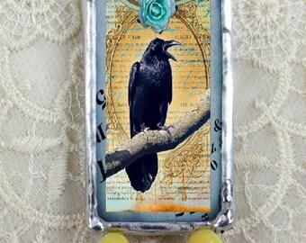 Soldered glass pendant, Soldered art pendant, Steampunk jewelry, Black Crow one