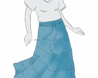 Drawstring Peasant Skirt Digital Pattern
