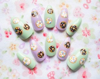 Kawaii Donut Fake Nails, Stiletto Nails, False Nails, Press on, Nails, Acrylic Nails, Pastel, Sweet Lolita, Doughnut, Donut