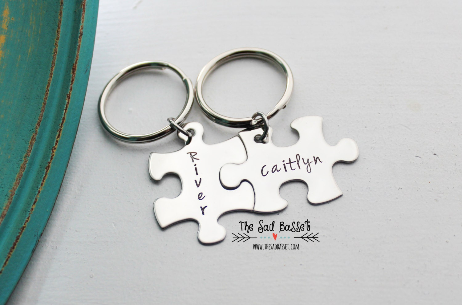 puzzle piece keychain set yours and mine by thesadbasset
