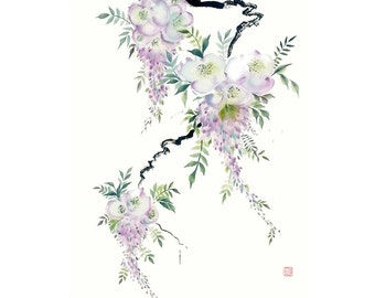 Wisteria Original Watercolor Painting Chinese Brush Artwork