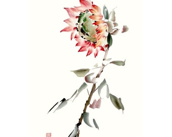 Orange Sunflower Original Watercolor Painting Chinese Brush Artwork