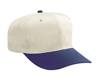 Natural and Navy Hat 6- Panel Baseball or Golf Hat