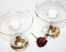 VINTAGE BOBECHE Candle Bowls Clear Elegant Glass Wax Catcher Wavy Edge Peg Bottom Set of 3 Weddings Entertaining