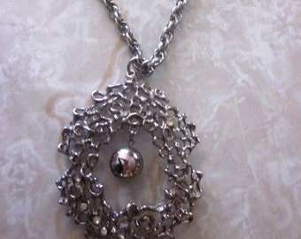Vintage Silver Rhinestone Ball Pendant Necklace on Silver Chain, Statement Necklace