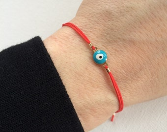 Red String Enamel Evil Eye Bracelet