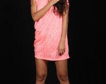 Twisted dress, asymmetrical dress, pink tunic, ultra pink dress, transparent dress, loose dress, free size dress, printed dress, one size