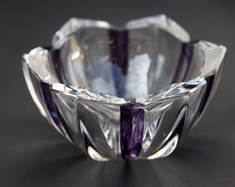 Dresden Crystal Bowl Thick Cut Crystal Dark Violet Purple Spines Made in Germany 24 Percent Lead Crystal Original Label Modern Contemporary