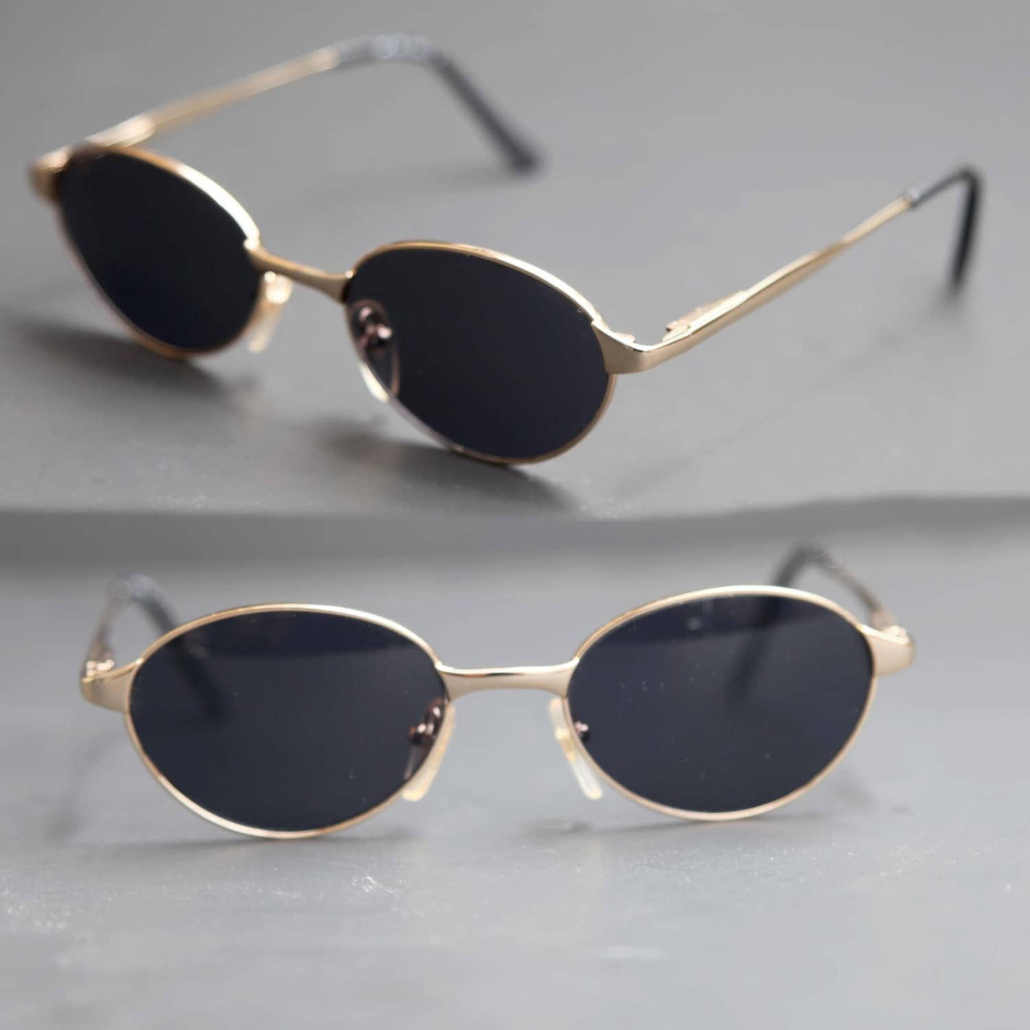 80s Oval Sunglasses DKNY Gold Wire Rim with Dark Lenses Light