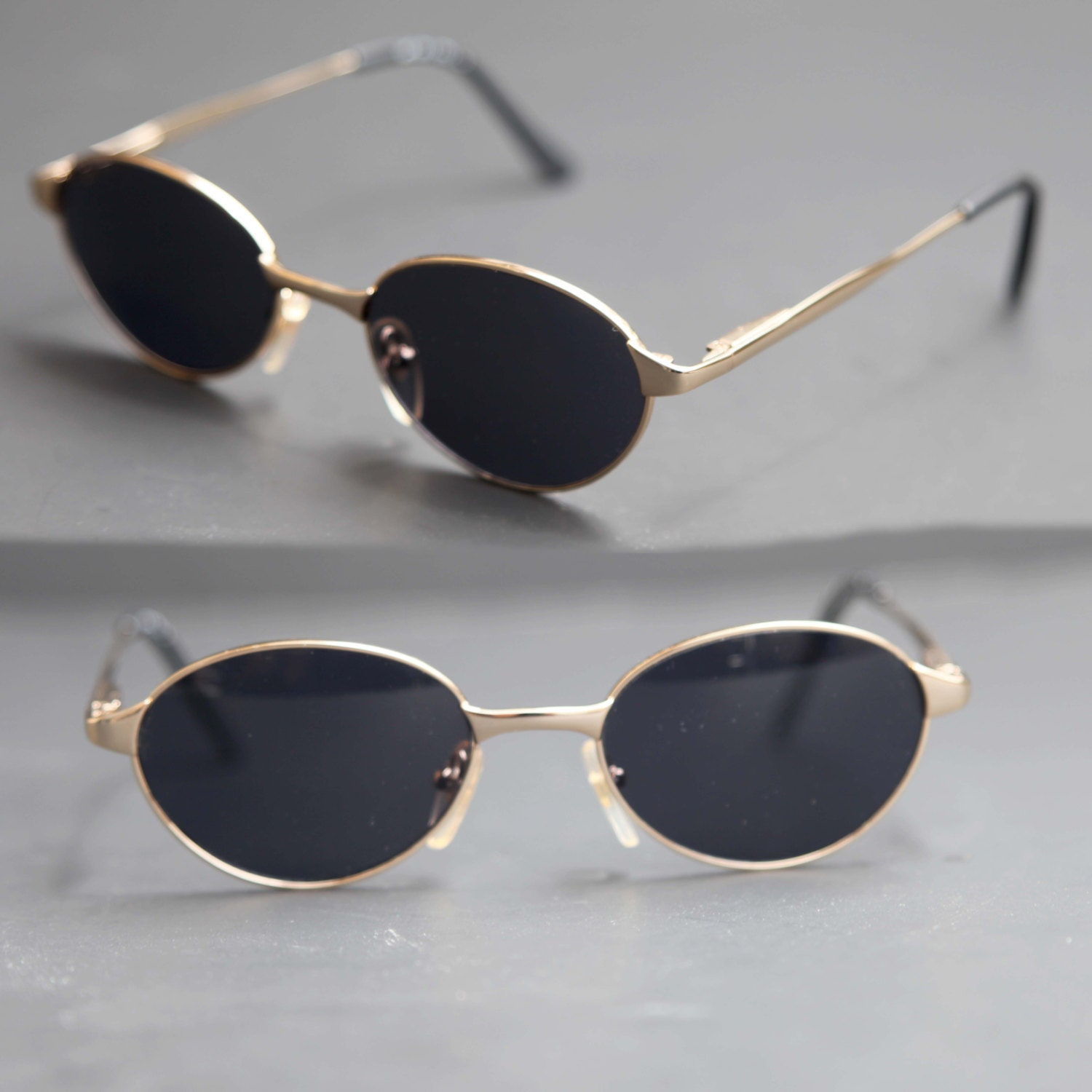 Gold Frame Oval Sunglasses : 80s Oval Sunglasses DKNY Gold Wire Rim with Dark Lenses Light