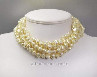 Pale Yellow Multi Strand Pearl Necklace Canary Yellow Twisted Pearl Choker Necklace Gifts Under 100 Christmas Pesent for My Wife